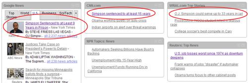 OJ Sentence Headlines